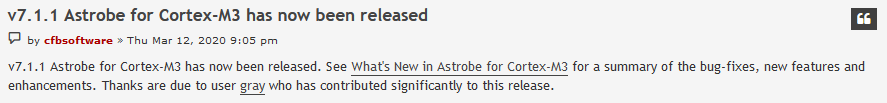 Astrobe honorable mention